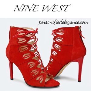 Nine West Leslie Red Suede Cage Heels 10.5M